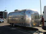 A vintage American Airstream caravan on it's way from Southampton Docks to be towed to where it will be renovated. - click to enlarge
